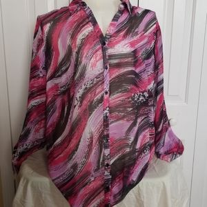 Avenue purple sheer long sleeve shirt